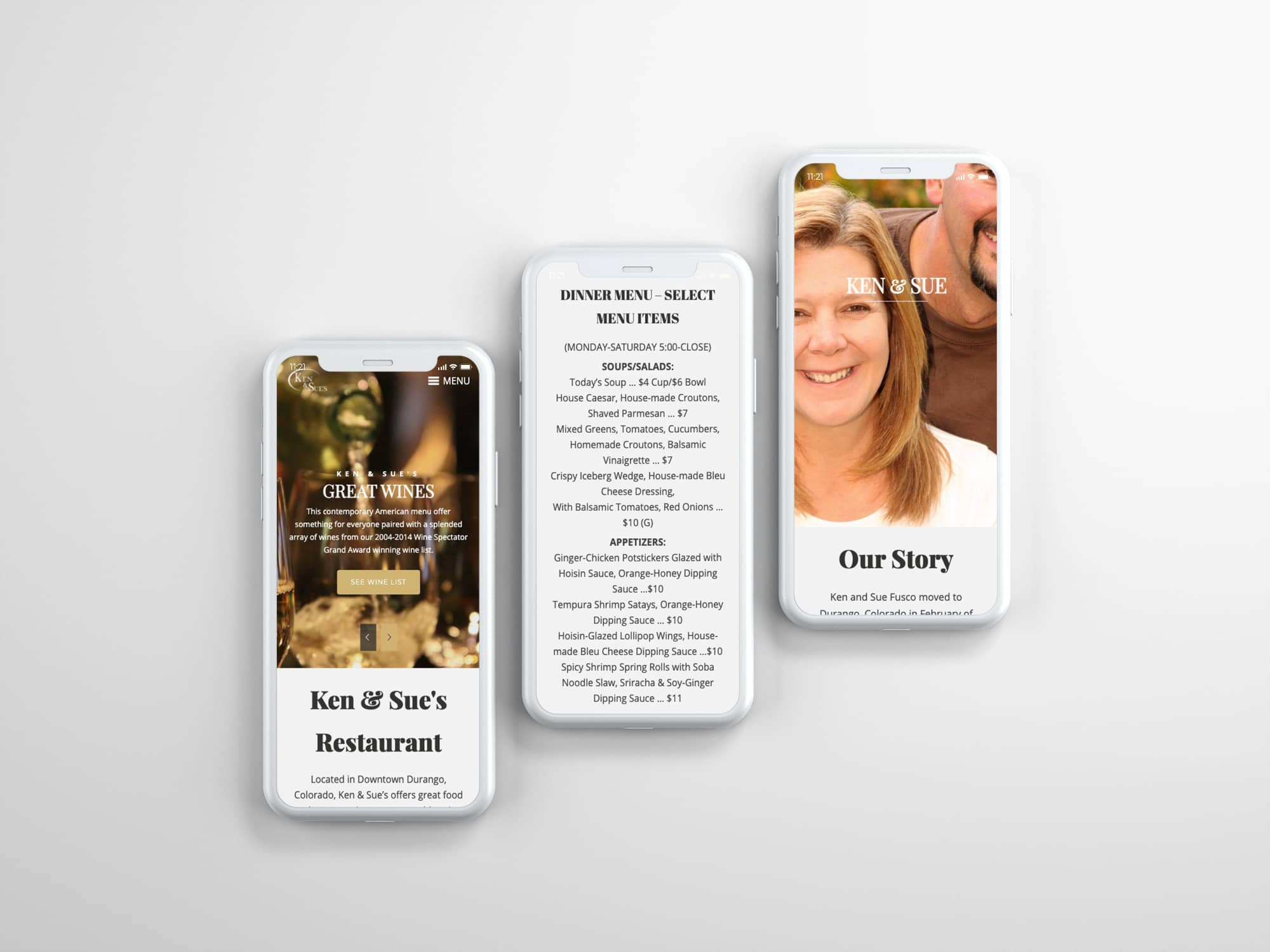 Ken & Sue's website on Mobile Phone