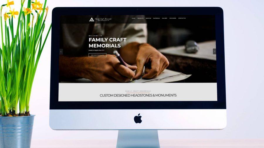 Family Craft Memorials Website design on a desktop