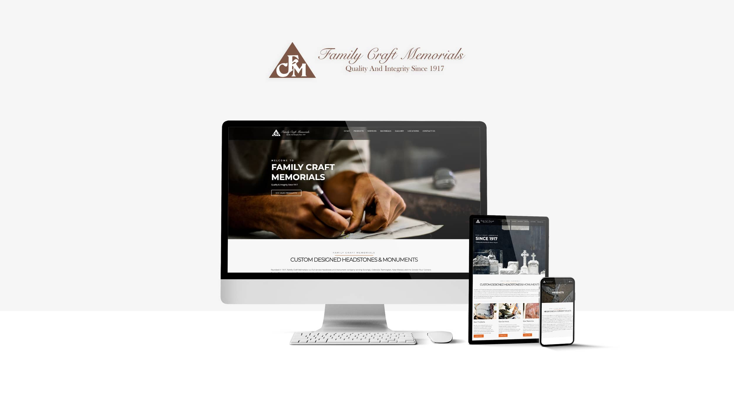Family Craft Memorial's Website Design on different device sizes