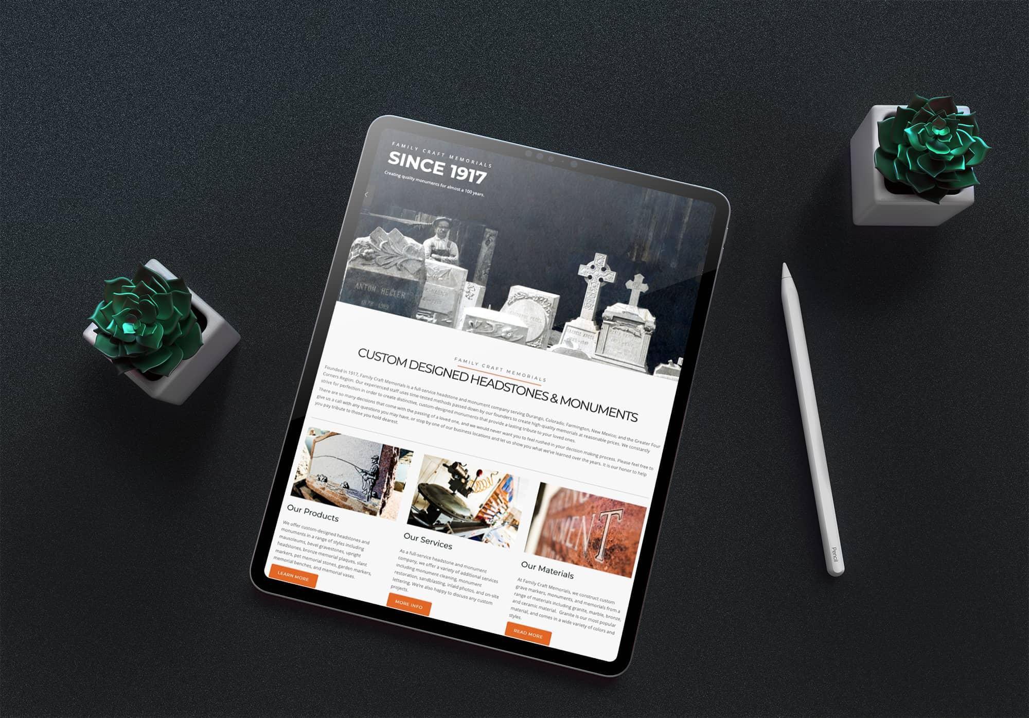 Family Craft website Design on a iPad