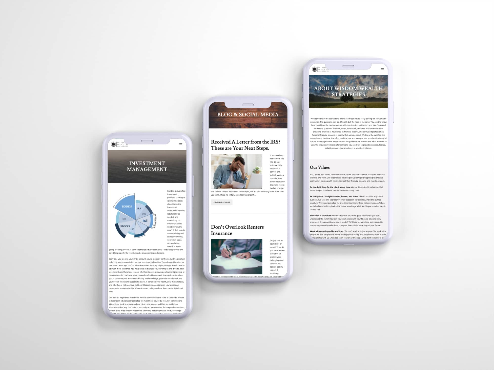 Wisdom Wealth Strategies Website on mobile devices