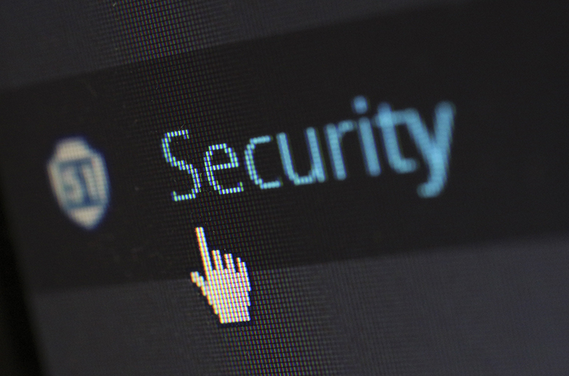 Close up on a screen of the word Security