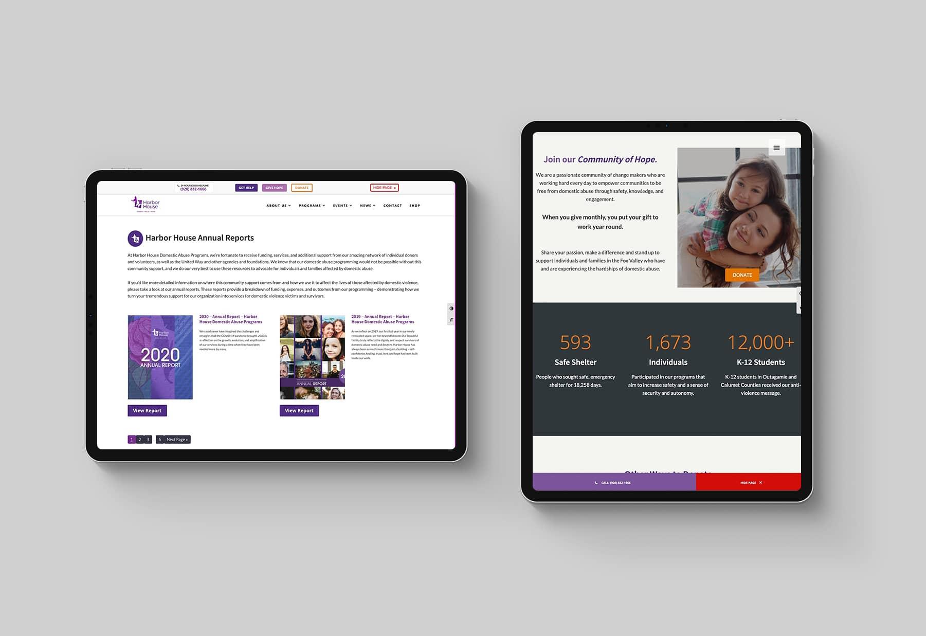 Harbor House Website on iPads
