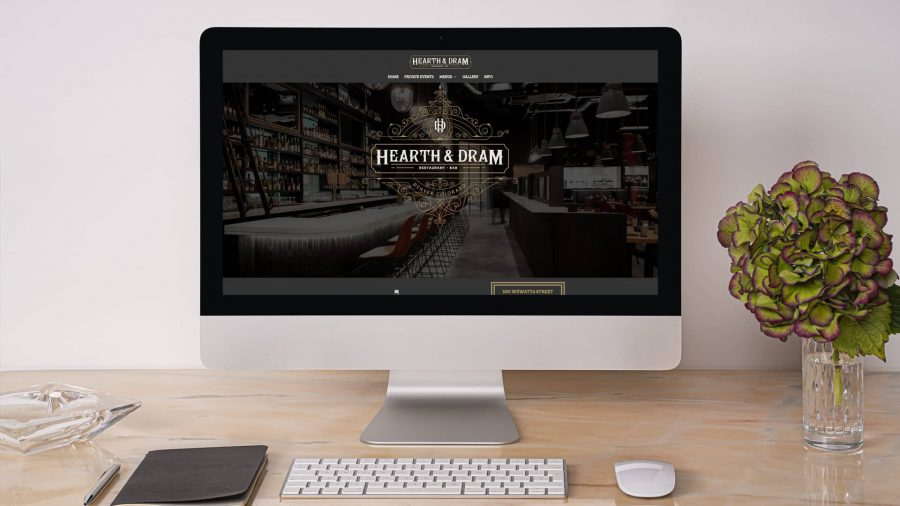 Hearth & Dram website on a desktop computer