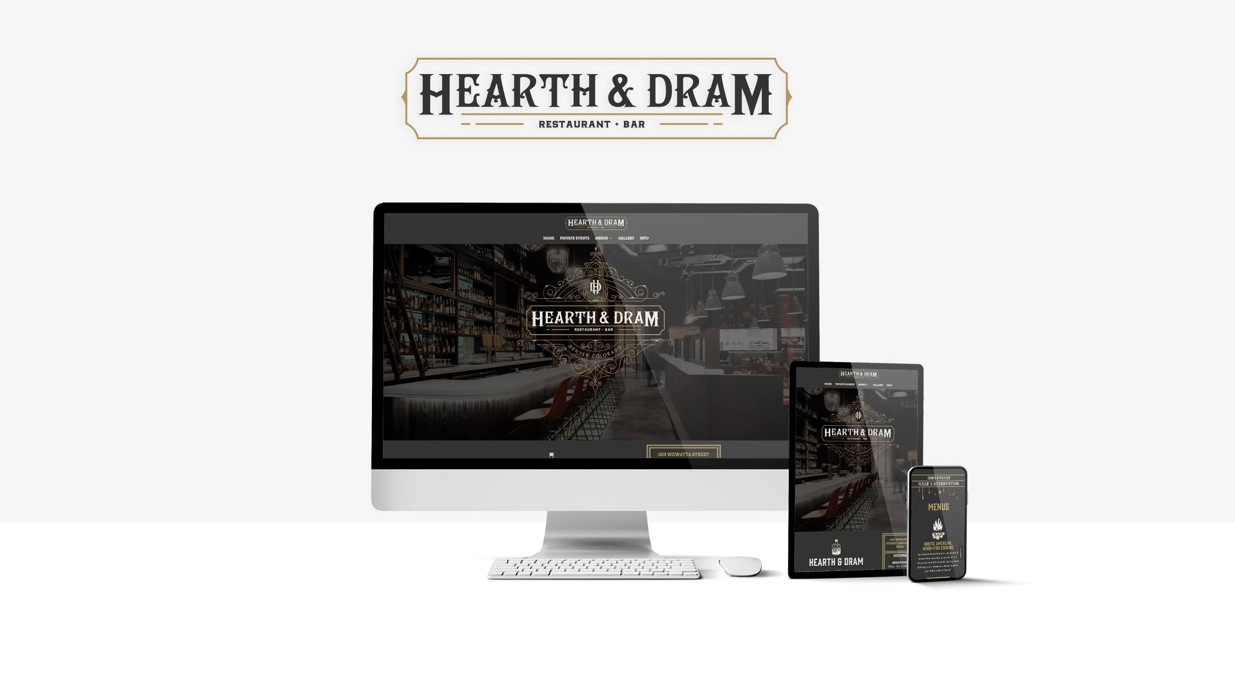 Hearth & Dram website on multiple devices