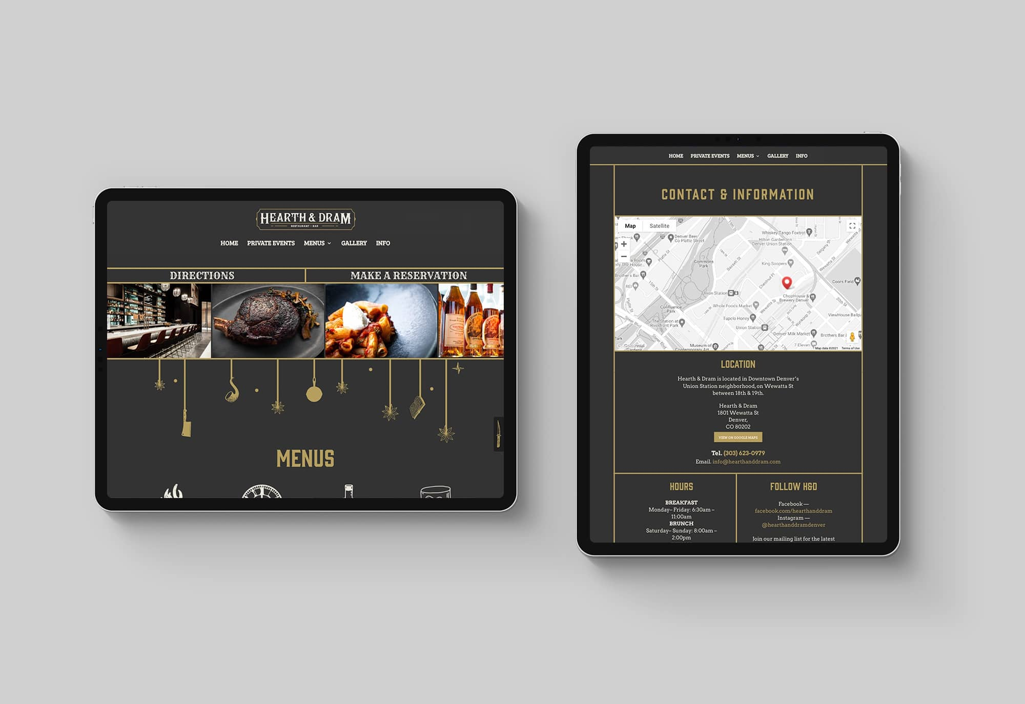 Hearth & Dram website on ipad